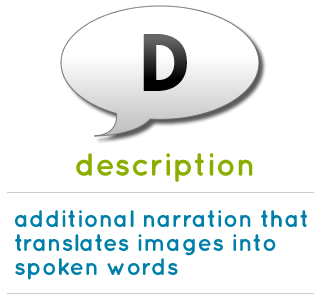 description is additional narration that translates images into spoken words